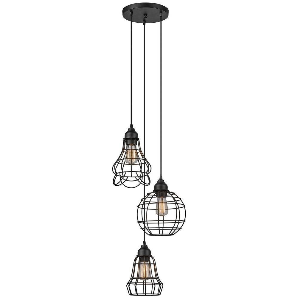 Globe Electric Jorah 3-Light Oil-Rubbed Bronze Cage Cluster with Bronze Cage Pendant Lights (Image 9 of 15)