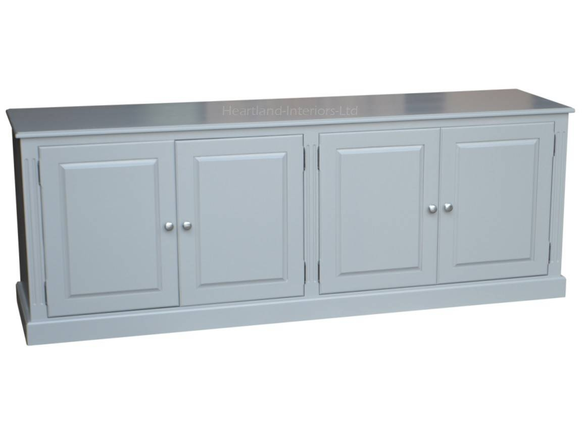 Grey, Cream Or White Painted 7ft Wide Low Storage Wooden Sideboard Regarding Low Wide Sideboards (View 6 of 15)