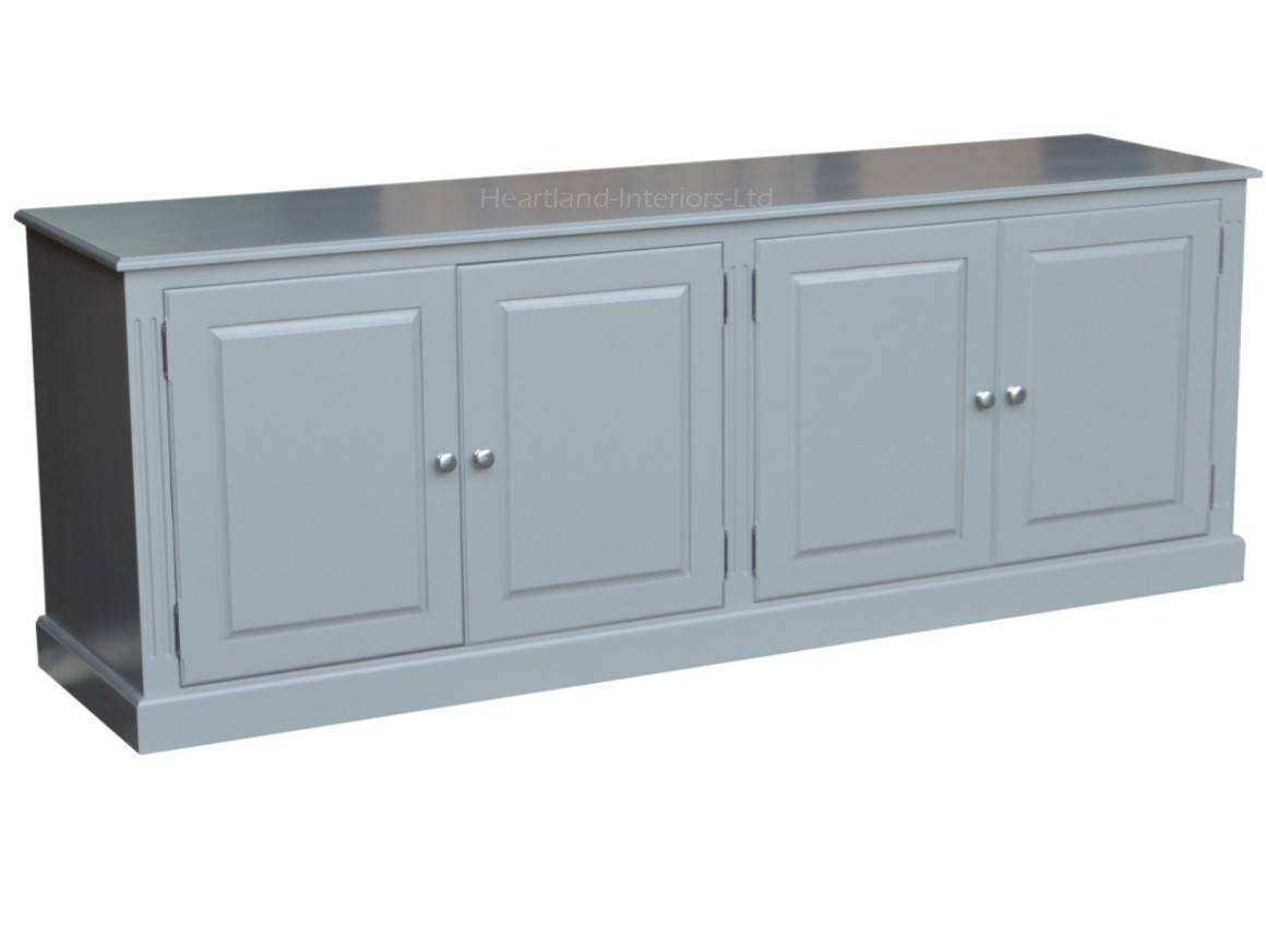 Grey, Cream Or White Painted 7ft Wide Low Storage Wooden Sideboard Throughout Low Wide Sideboards (View 2 of 15)
