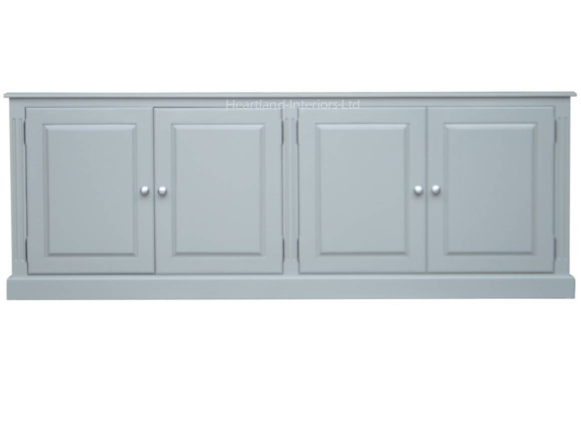 Grey, Cream Or White Painted 7ft Wide Low Storage Wooden Sideboard With Regard To Low Wide Sideboards (View 11 of 15)