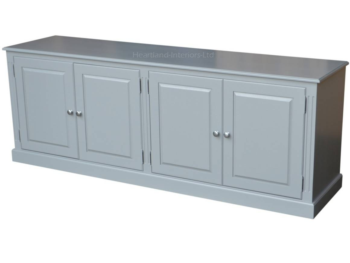 Grey, Cream Or White Painted 7ft Wide Low Storage Wooden Sideboard Within Low Wide Sideboards (View 8 of 15)