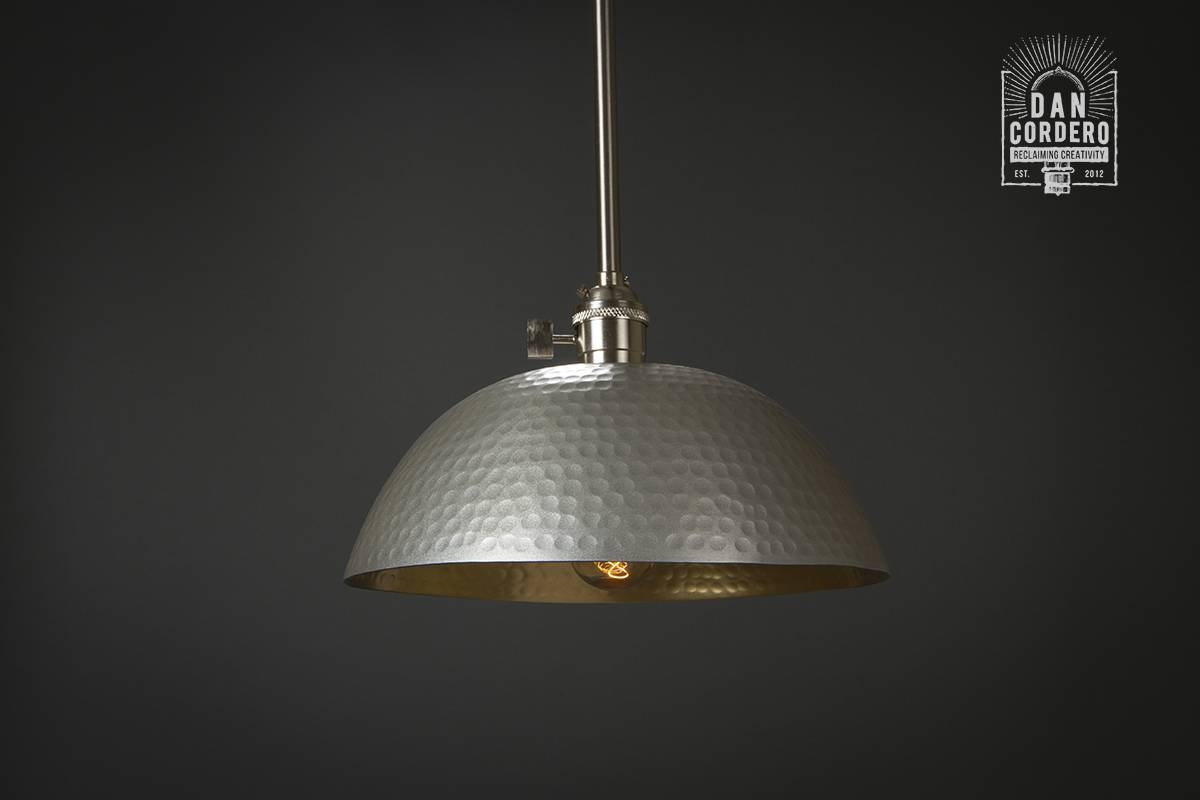 Hammered Gold & Brushed Nickel Edison Bulb Pendant Light Fixture Within Edison Bulb Pendant Lights (View 14 of 15)