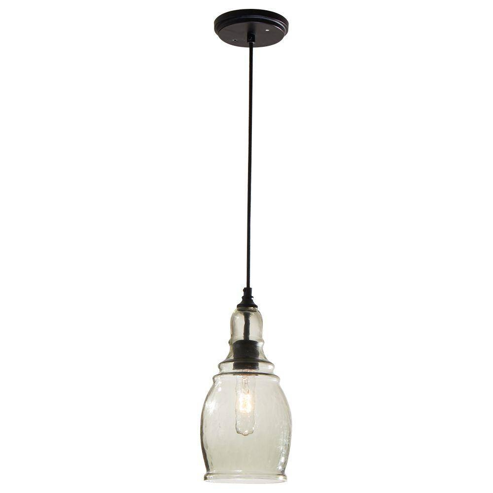 Hampton Bay 1 Light Black Mini Pendant With Clear Glass Shade Within Shades Glass Mini Pendant Light (View 4 of 15)