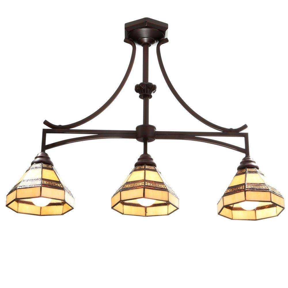 Hampton Bay Addison 3 Light Oil Rubbed Bronze Kitchen Island Light For Tiffany Style Pendant Light Fixtures (View 13 of 15)