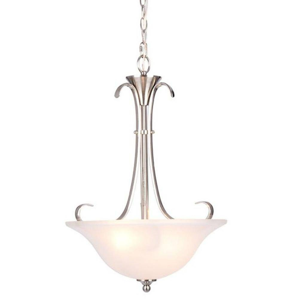 Hampton Bay Santa Rita 2-Light Brushed Nickel Inverted Pendant inside Inverted Pendant Lighting (Image 7 of 15)
