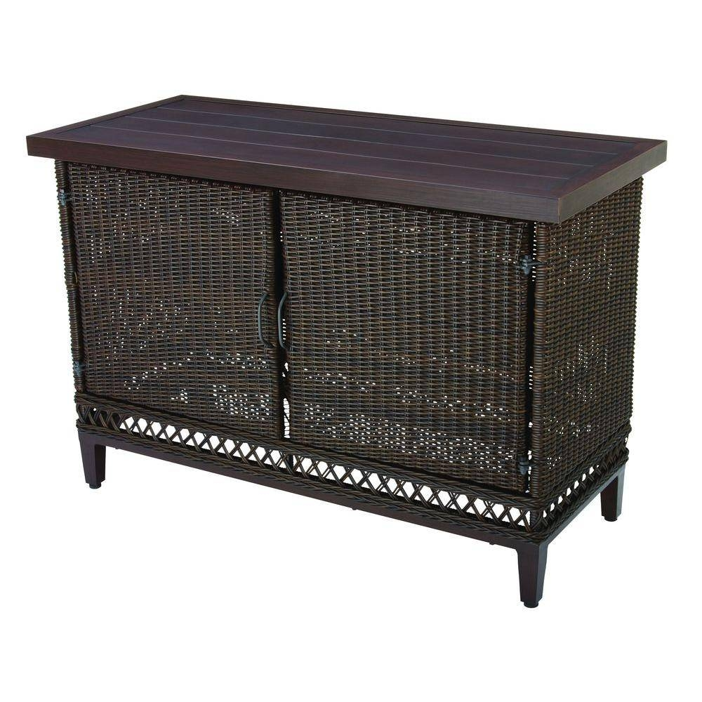 Hampton Bay Woodbury Patio Buffet Dy9127 Buffet – The Home Depot With Outdoor Sideboard Tables (View 14 of 15)