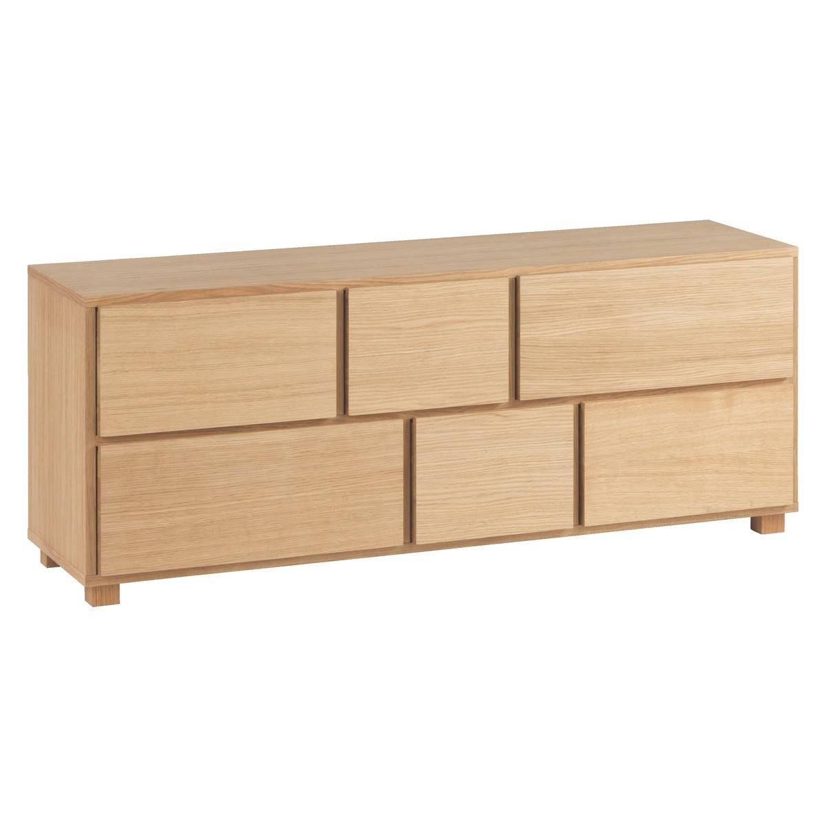 Hana Ii Oiled Oak 6 Drawer Low Wide Chest | Buy Now At Habitat Uk In Low Wide Sideboards (View 4 of 15)