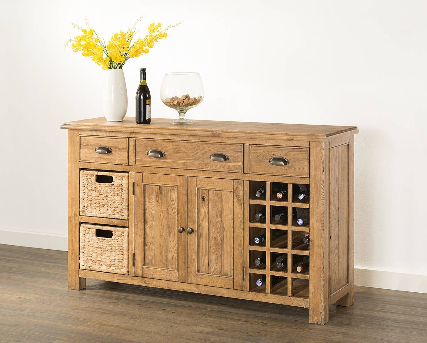 Hartford Large Sideboard With Wine Rack & Baskets (60-15) - Papaya pertaining to Sideboards With Wine Rack (Image 6 of 15)