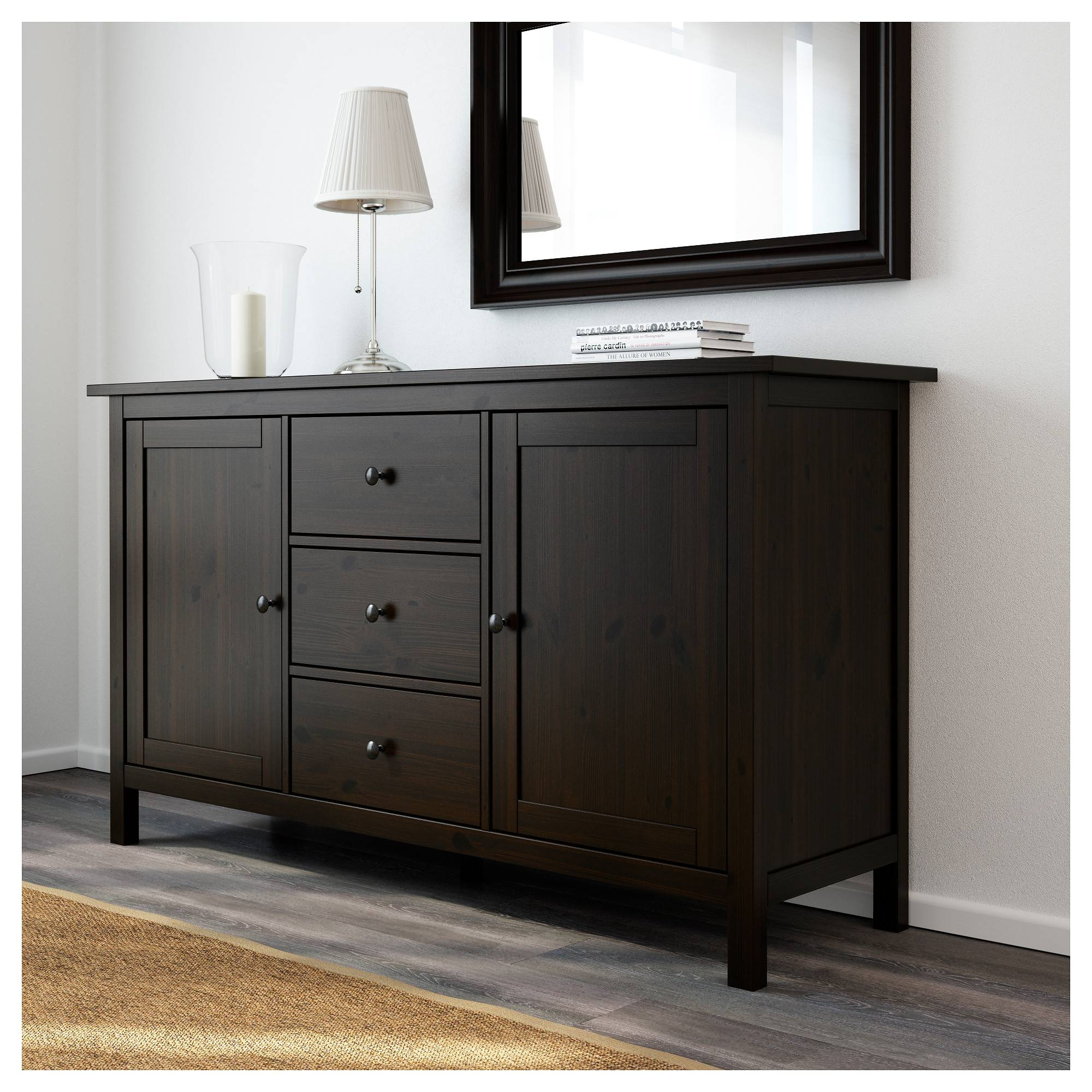 Hemnes Sideboard Black-Brown 157X88 Cm - Ikea inside Dark Wood Sideboards (Image 6 of 15)