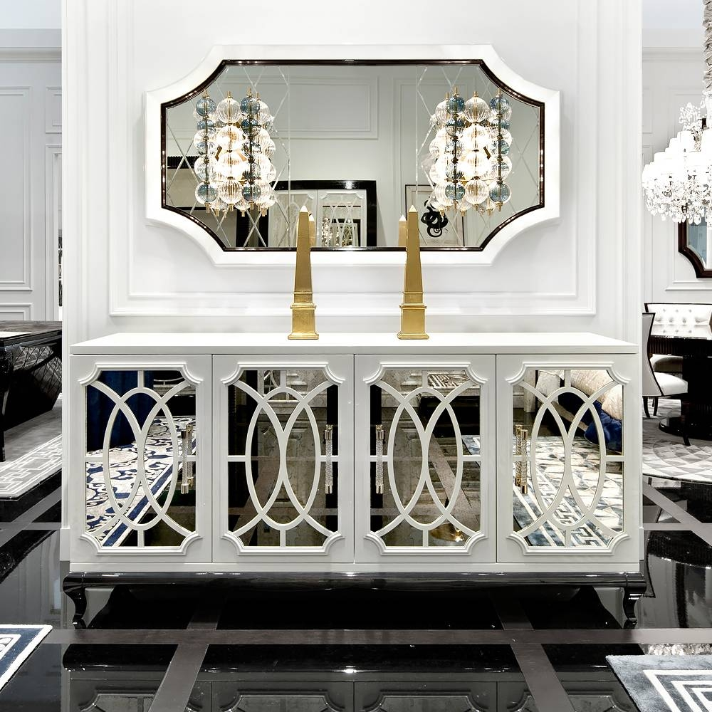 High End Italian White Fretwork Mirrored Sideboard | Juliettes within Mirrored Buffet Sideboards (Image 5 of 15)