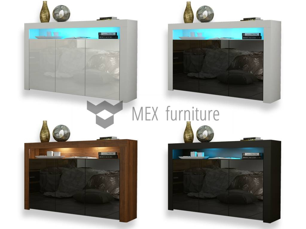 High Gloss Sideboard - Mex Furniture within Sideboards With Lights (Image 3 of 15)