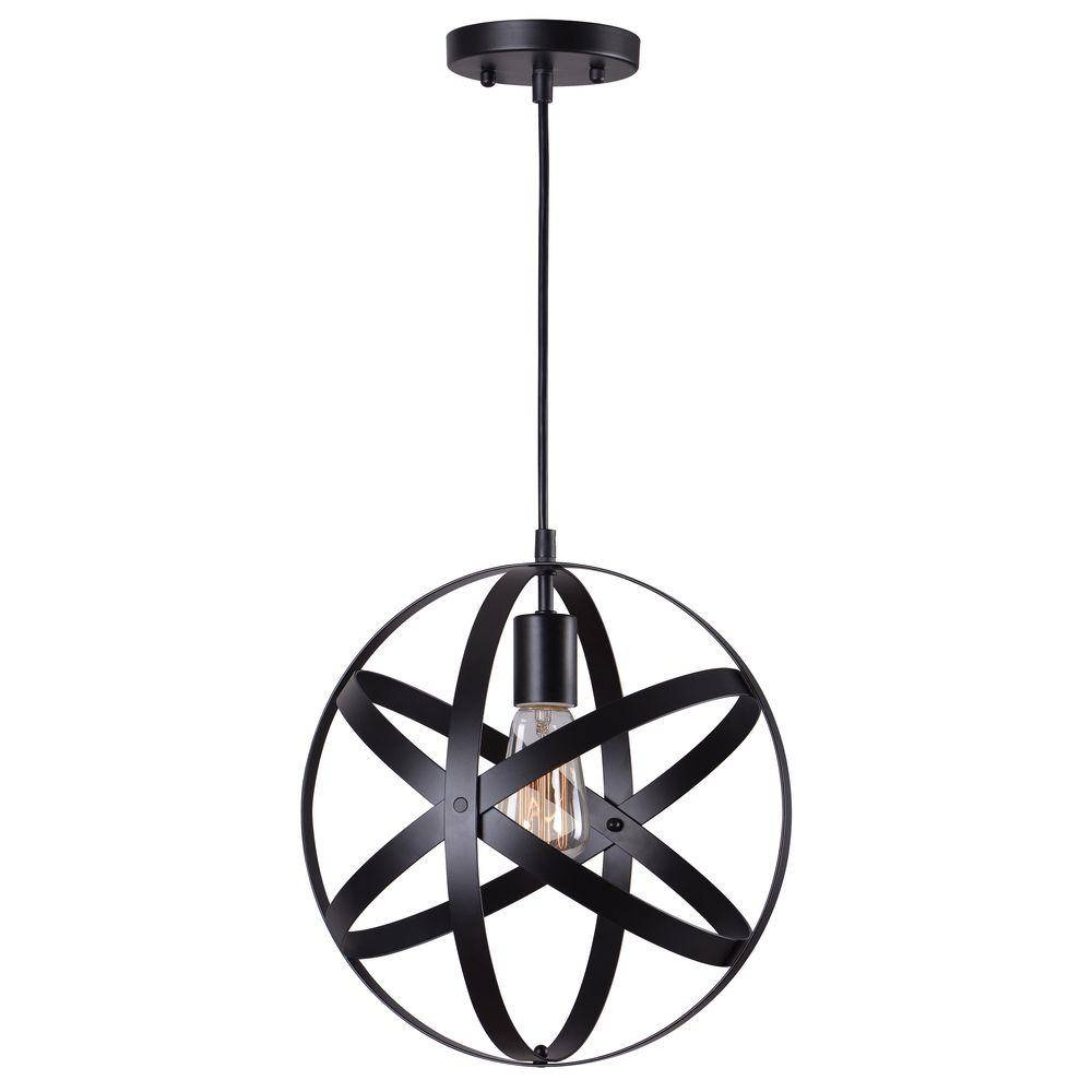 Home Decorators Collection 1-Light Black Orb Mini Pendant With in Black Mini Pendant Lights (Image 5 of 15)