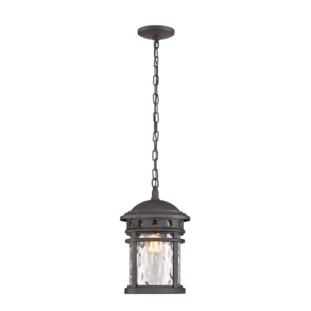 Home Decorators Collection 1-Light Black Outdoor Pendant-C2374 for Outside Pendant Lights (Image 4 of 15)