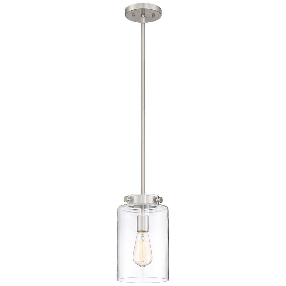 Home Decorators Collection 1 Light Brushed Nickel Mini Pendant In Clear Glass Mini Pendant Lights (View 15 of 15)