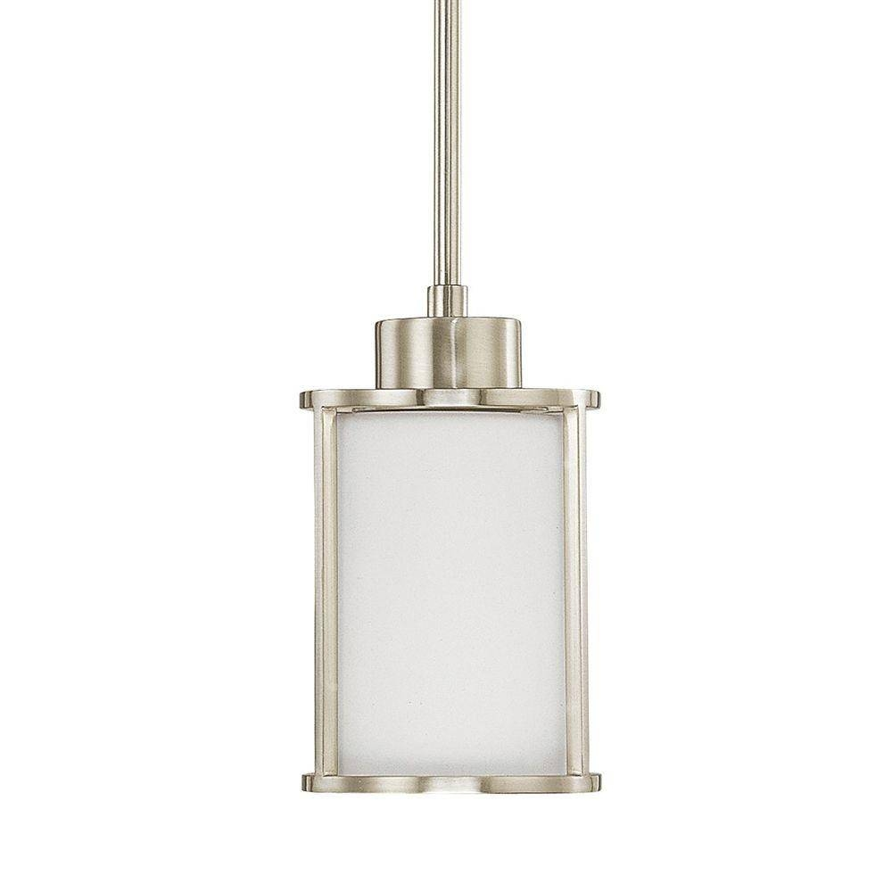 Home Decorators Collection 1-Light Brushed Nickel Mini-Pendant throughout White Mini Pendant Lights (Image 7 of 15)