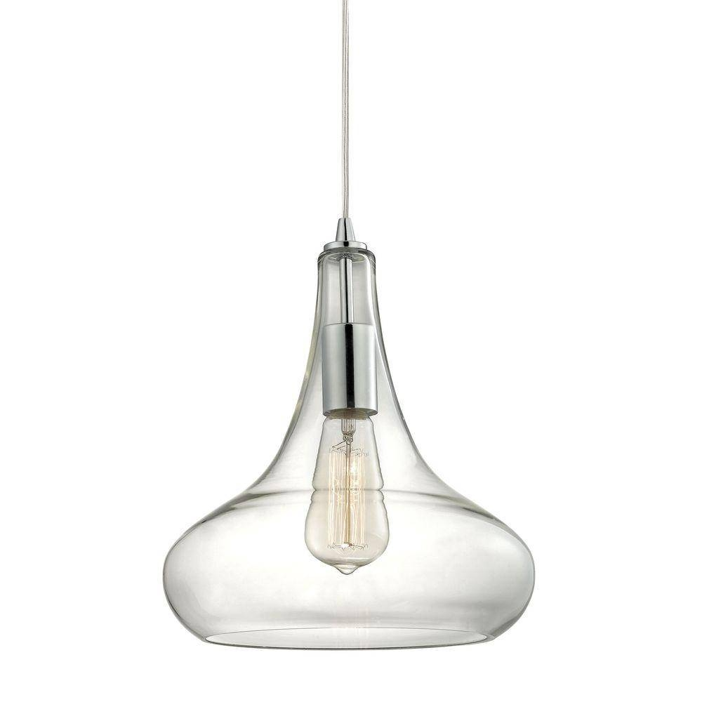 Home Decorators Collection 1-Light Polished Chrome Pendant With pertaining to Round Glass Pendant Lights (Image 6 of 15)