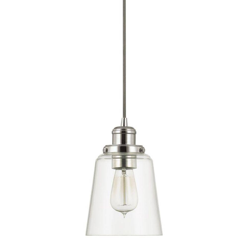 Home Decorators Collection 1 Light Polished Nickel Pendant With Within Glass Pendant Lighting Fixtures (View 3 of 15)