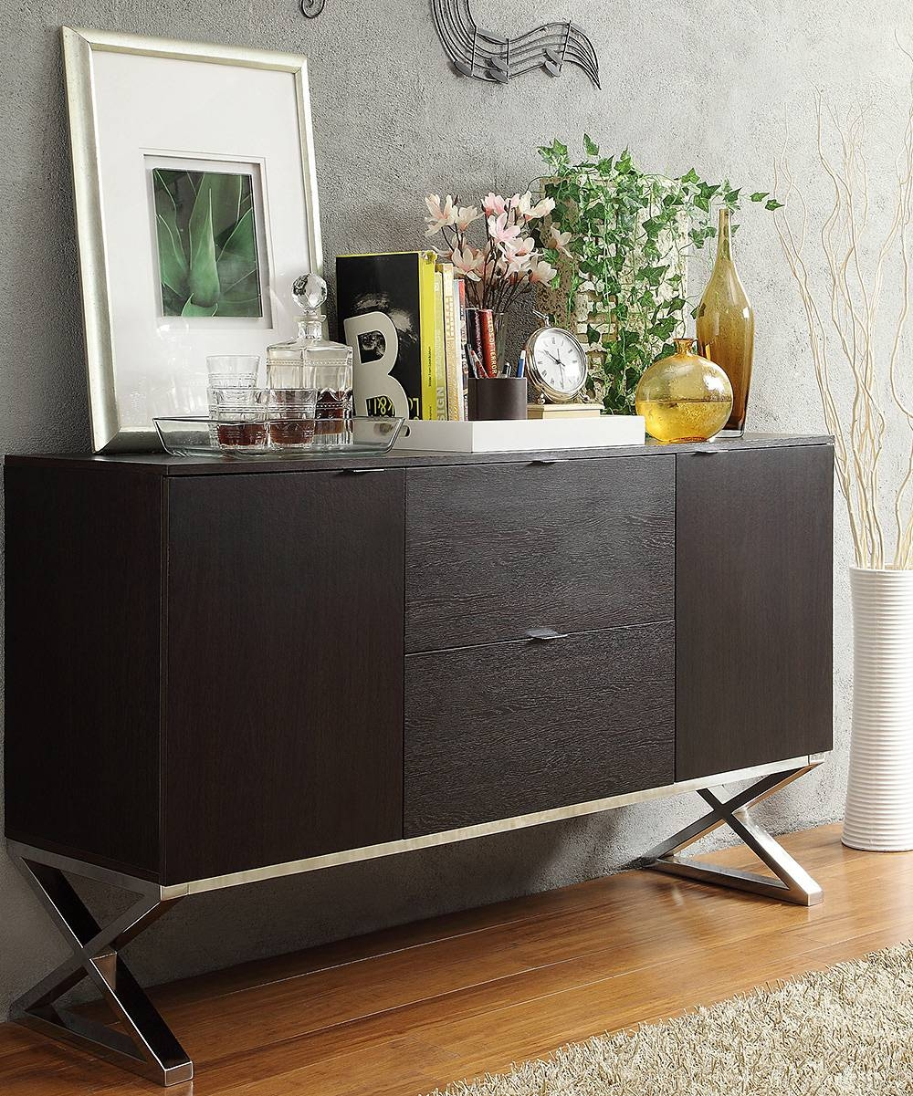 Homebelle Espresso X-Cross Sideboard Buffet Server | Zulily intended for Espresso Sideboards (Image 8 of 15)