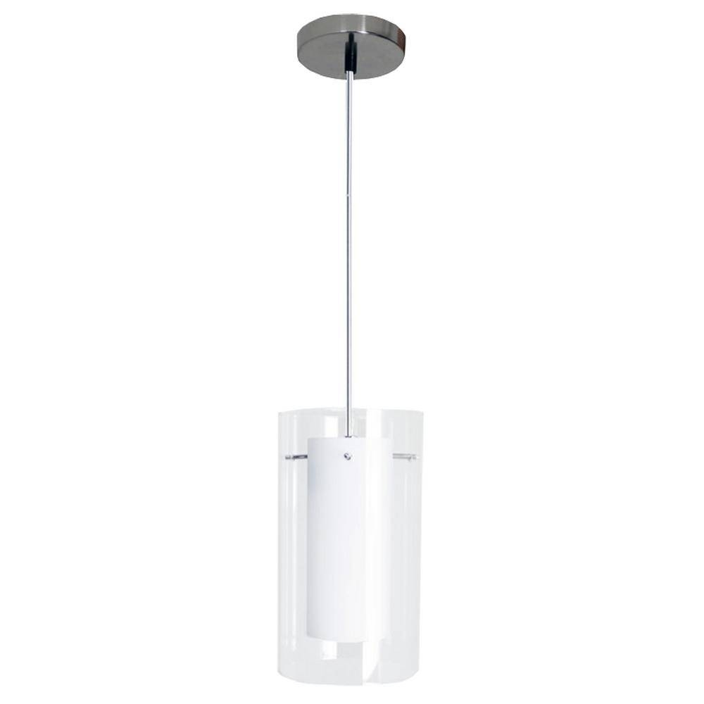 Homeselects Contempo 1-Light Clear And White Mini-Pendant With 7 for White Mini Pendant Lights (Image 9 of 15)