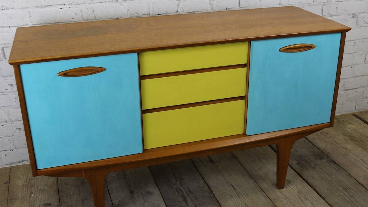 How I Upcycled Painted A Retro Sideboard Using Chalk Paint – Youtube With Chalk Painted Sideboards (View 9 of 15)