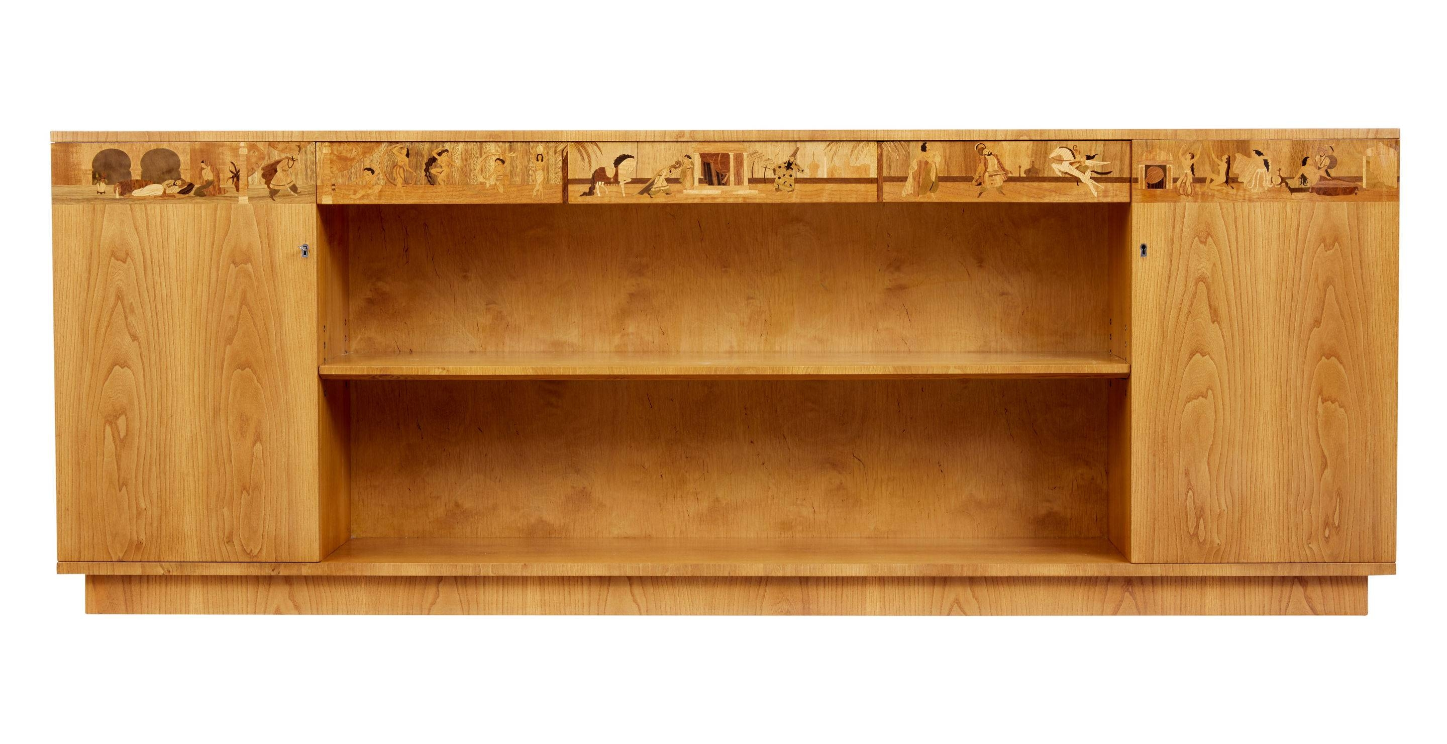 Impressive Large Elm Inlaid Scandinavian Low Bookcase (1950 Sweden With Regard To Long Low Sideboards (View 8 of 15)