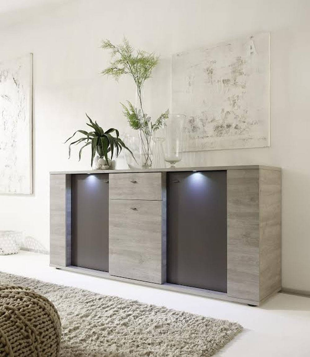 Italian Contemporary Sideboard Buffet With Led Lights Santa Ana Regarding Sydney Sideboards And Buffets (View 6 of 15)