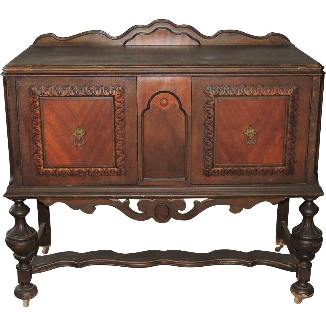 Jacobean Renaissance Revival Walnut Sideboard Buffet Server From With Jacobean Sideboards Buffets (Image 10 of 15)