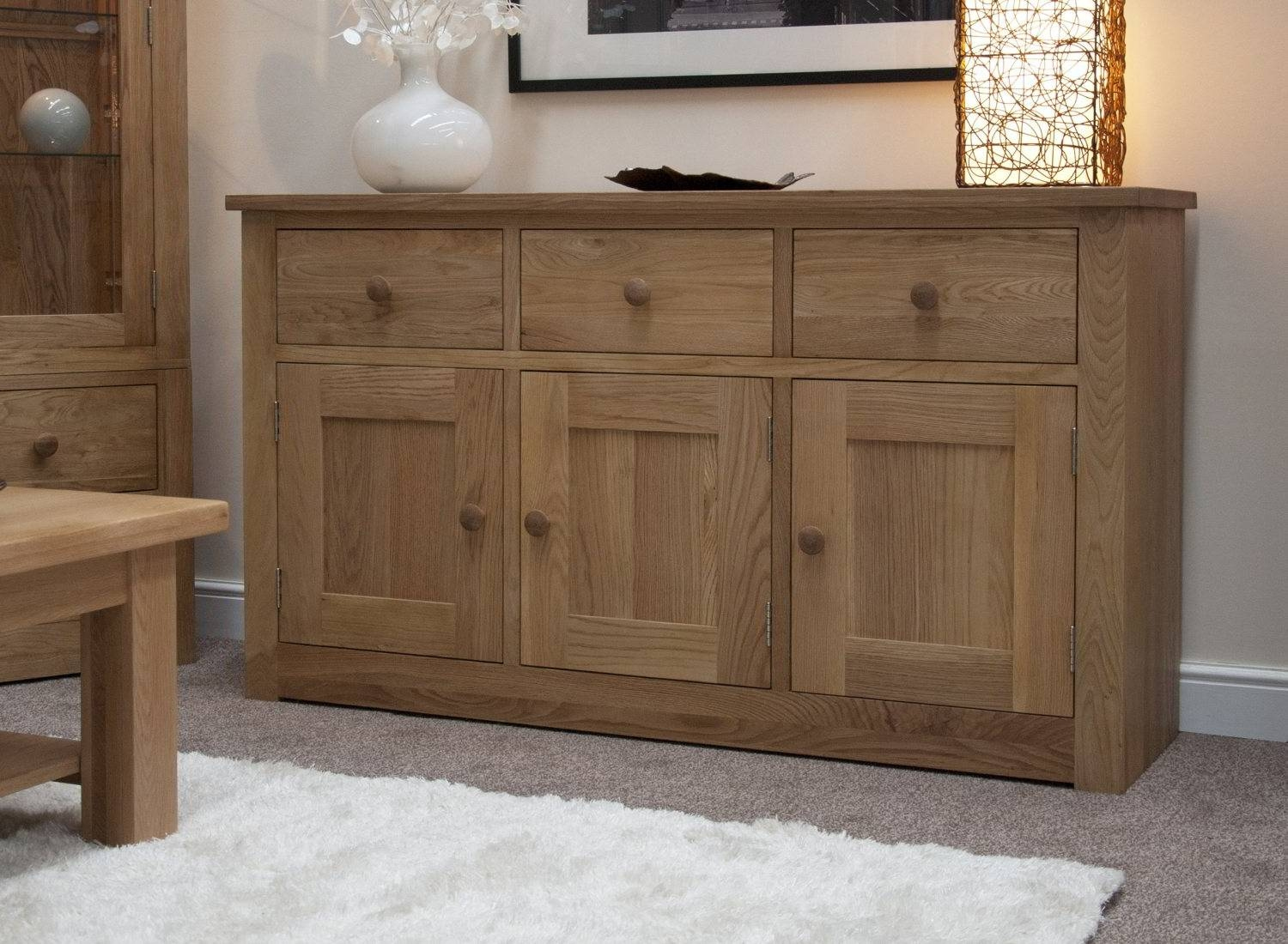 Kingston Solid Oak Living Dining Room Furniture Large Storage Intended For Solid Oak Sideboards (View 7 of 15)