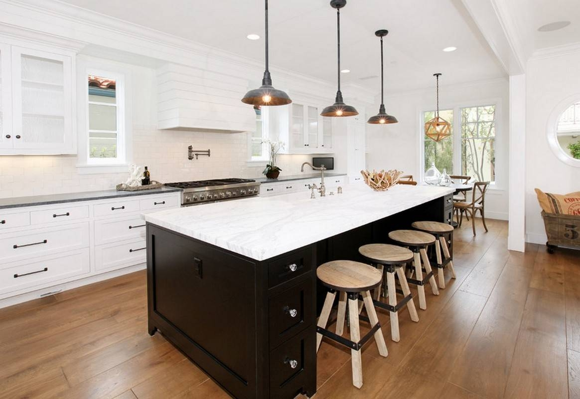 Kitchen Design And Decoration Using Round Black Gold Plate Mini in Mini Pendant Lights Over Kitchen Island (Image 9 of 15)