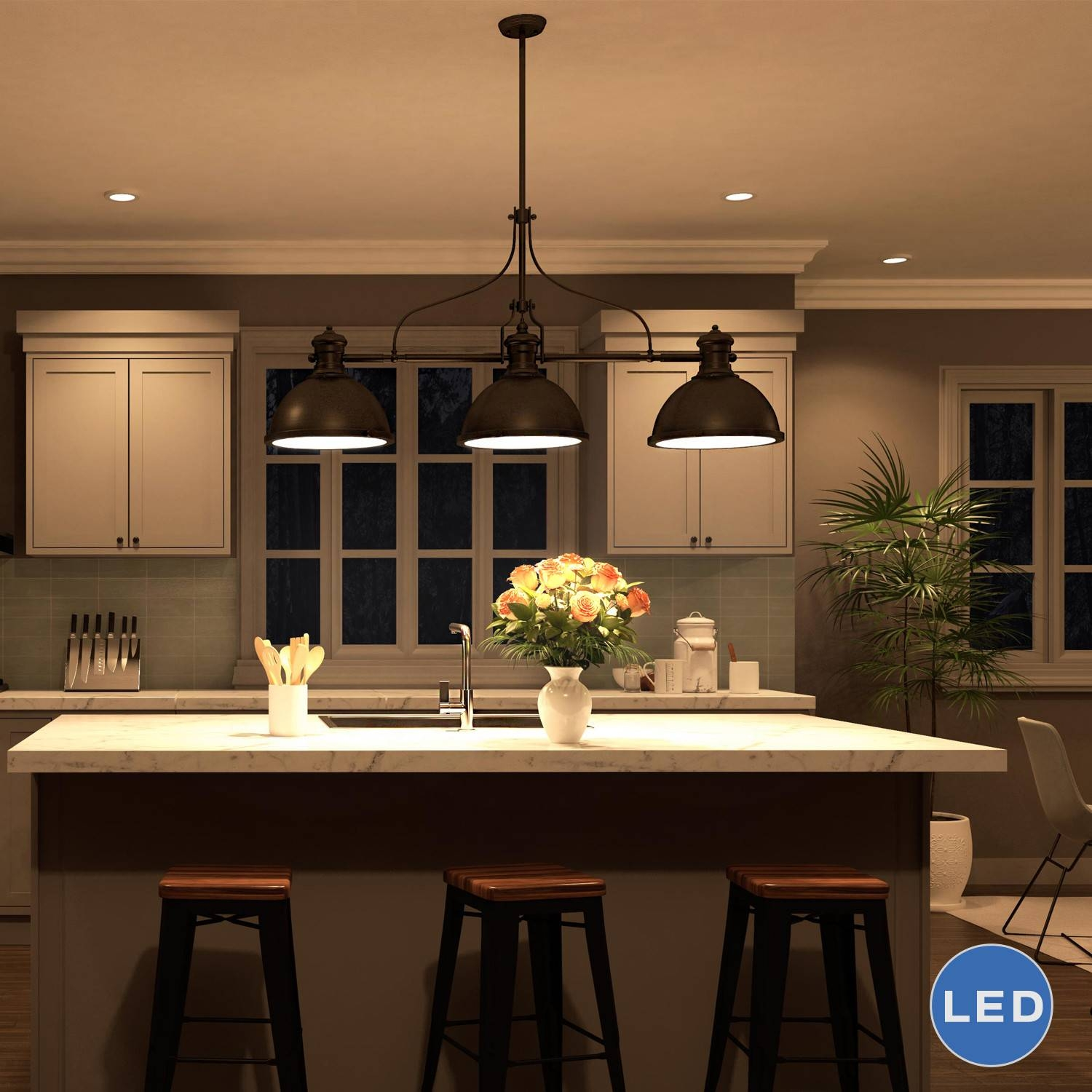 Featured Photo of 3 Pendant Lights For Kitchen Island