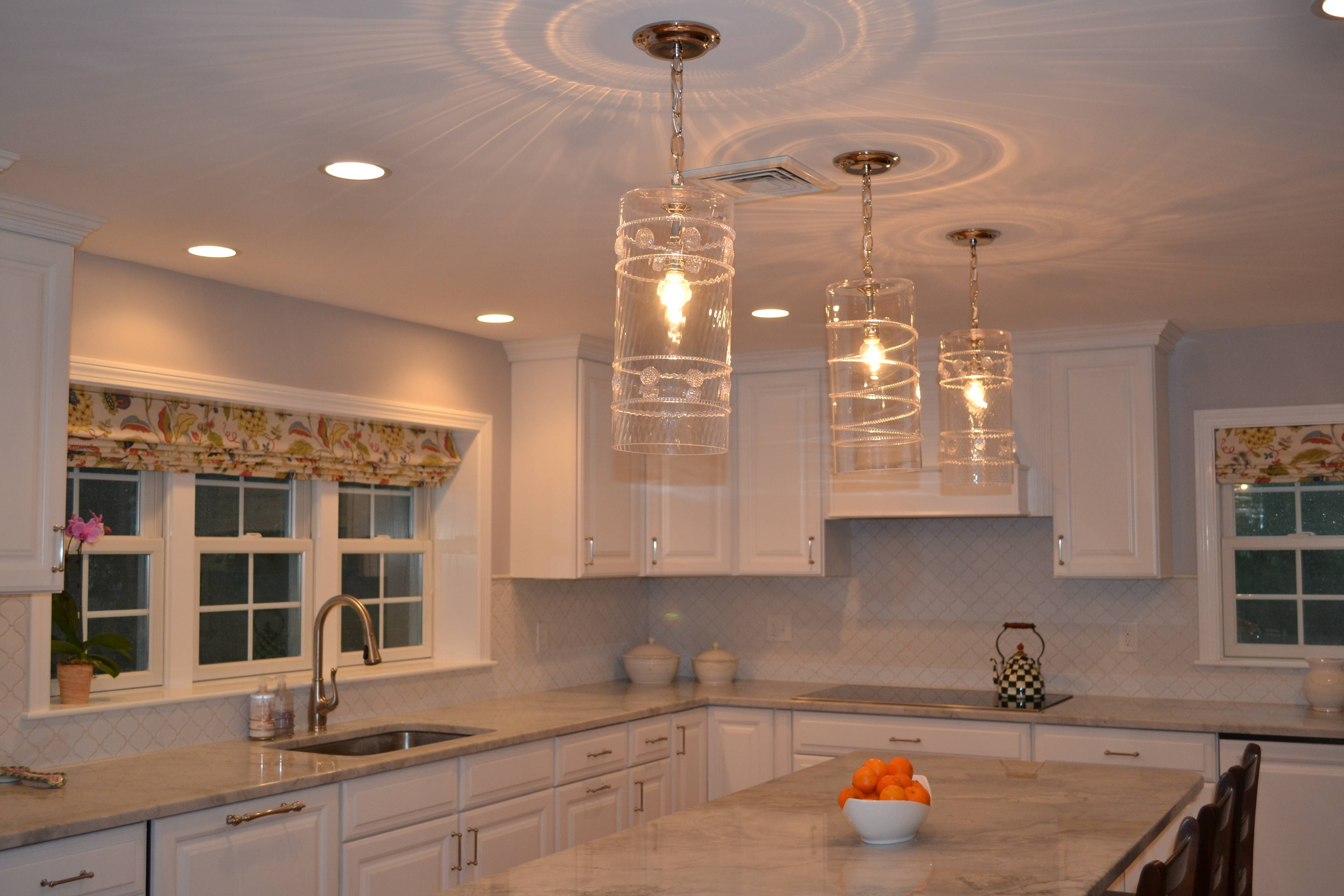Kitchen Ideas: Clear Glass Pendant Light Lights Above Island 3 Within 3 Pendant Lights For Kitchen Island (View 8 of 15)