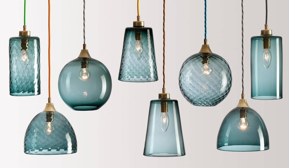 Kitchen Island Pendant Lights Turquoise Blue Glass Hanging Intended For Blue Glass Pendant Lights (View 10 of 15)