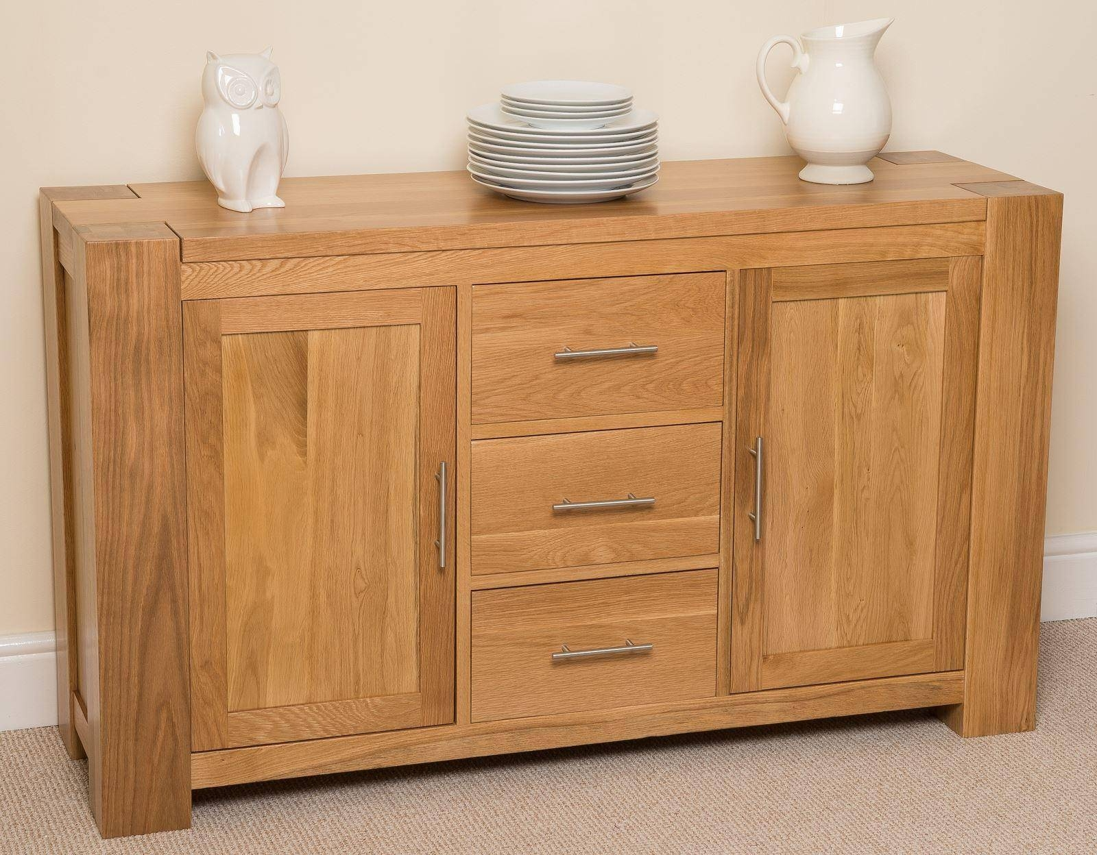 Kuba Solid Large Oak Sideboard | Free Uk Delivery in Solid Oak Sideboards (Image 8 of 15)