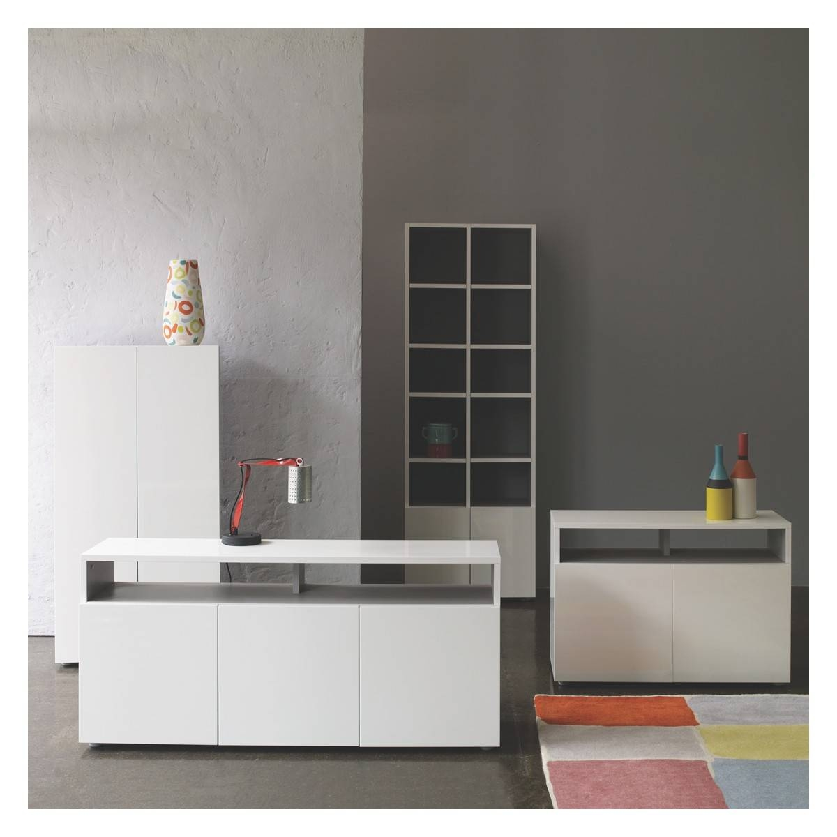 Kubrik White High Gloss Tall Shelving Unit | Buy Now At Habitat Uk With Regard To High Gloss Grey Sideboards (Photo 4 of 15)