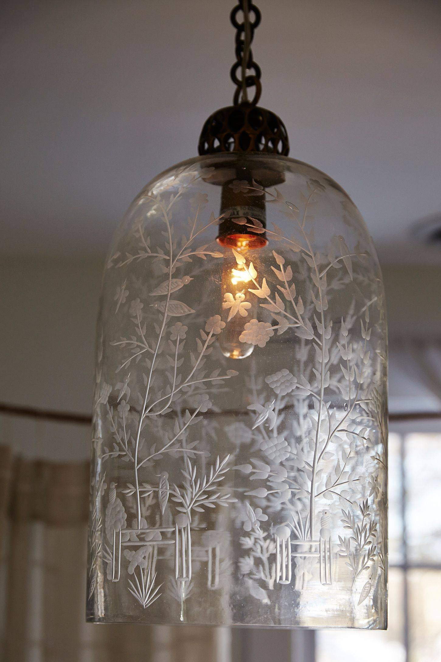 Lamp : Glass Light Shades Birdcage Pendant Light Glass Hanging Throughout Etched Glass Pendant Lights (View 8 of 15)
