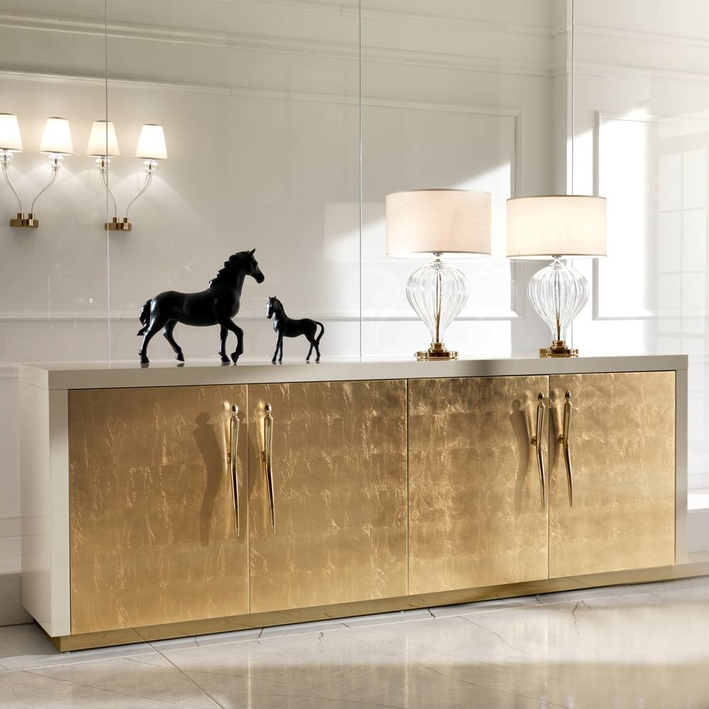 Large High End Gold Leaf Sideboard | Juliettes Interiors – Chelsea Regarding Gold Sideboards (View 2 of 15)