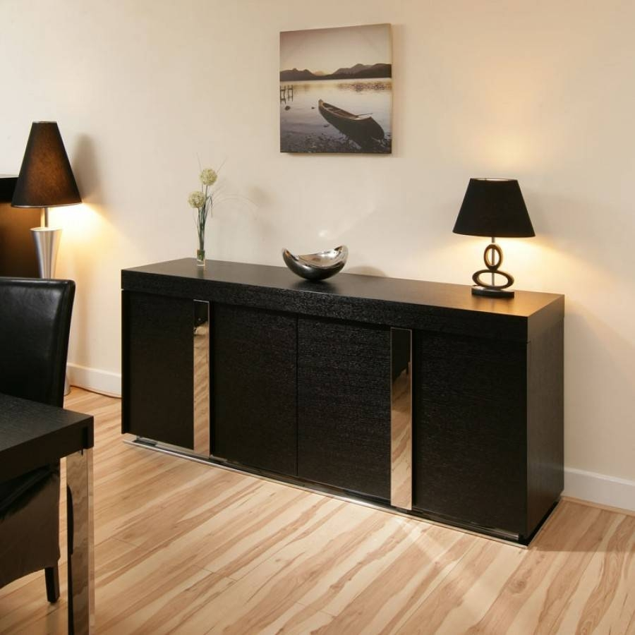Large Modern Oak Sideboard / Cabinet / Buffet In Black Oak 2.0Mtr inside Glass Door Buffet Sideboards (Image 10 of 15)