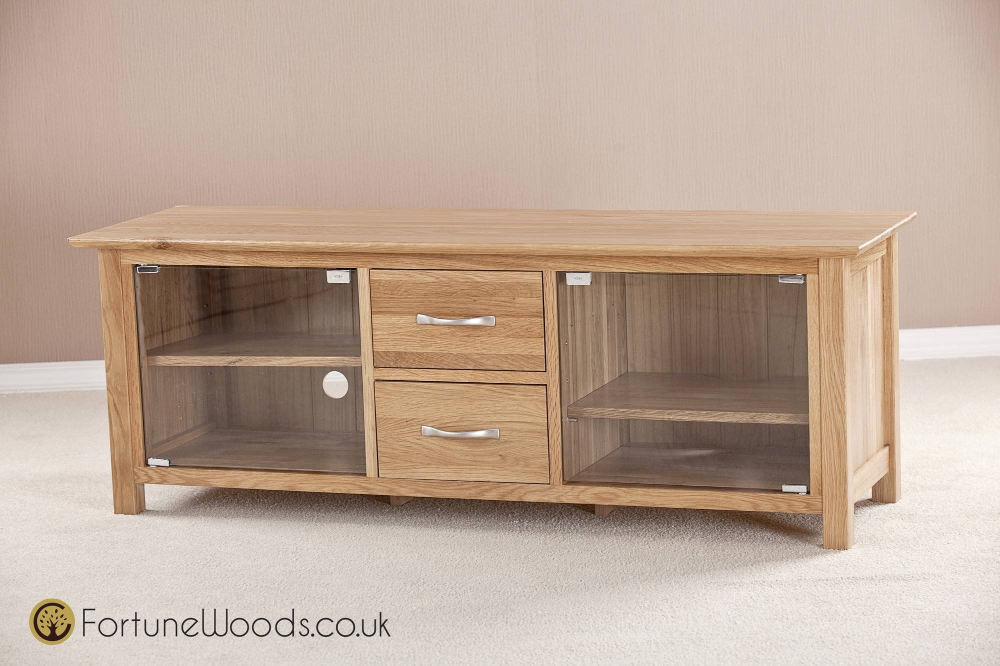 Large Oak Tv Unit With Glass Doors throughout Sideboards With Glass Doors And Drawers (Image 7 of 15)