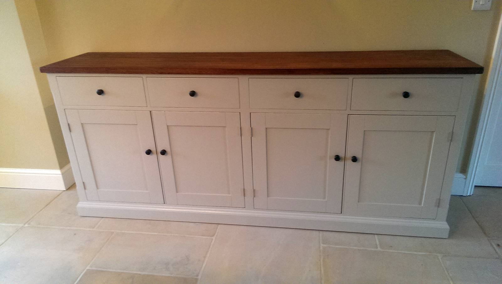 Large Painted Sideboard With Oak Top – Solid Wood & Painted Made Pertaining To Kitchen Sideboards (View 9 of 15)