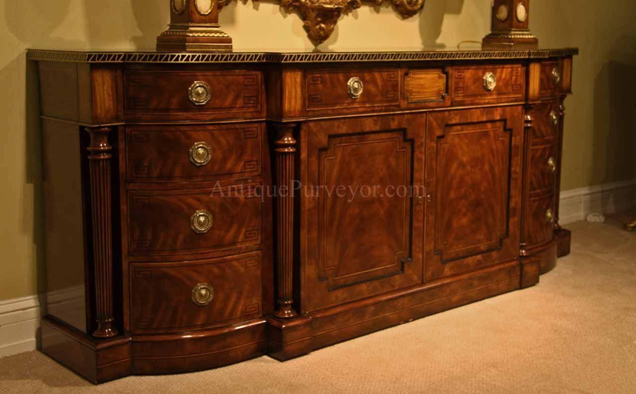 Large Regency Style Flame Mahogany Sideboard Or Credenza throughout Credenza Buffet Sideboards (Image 8 of 15)