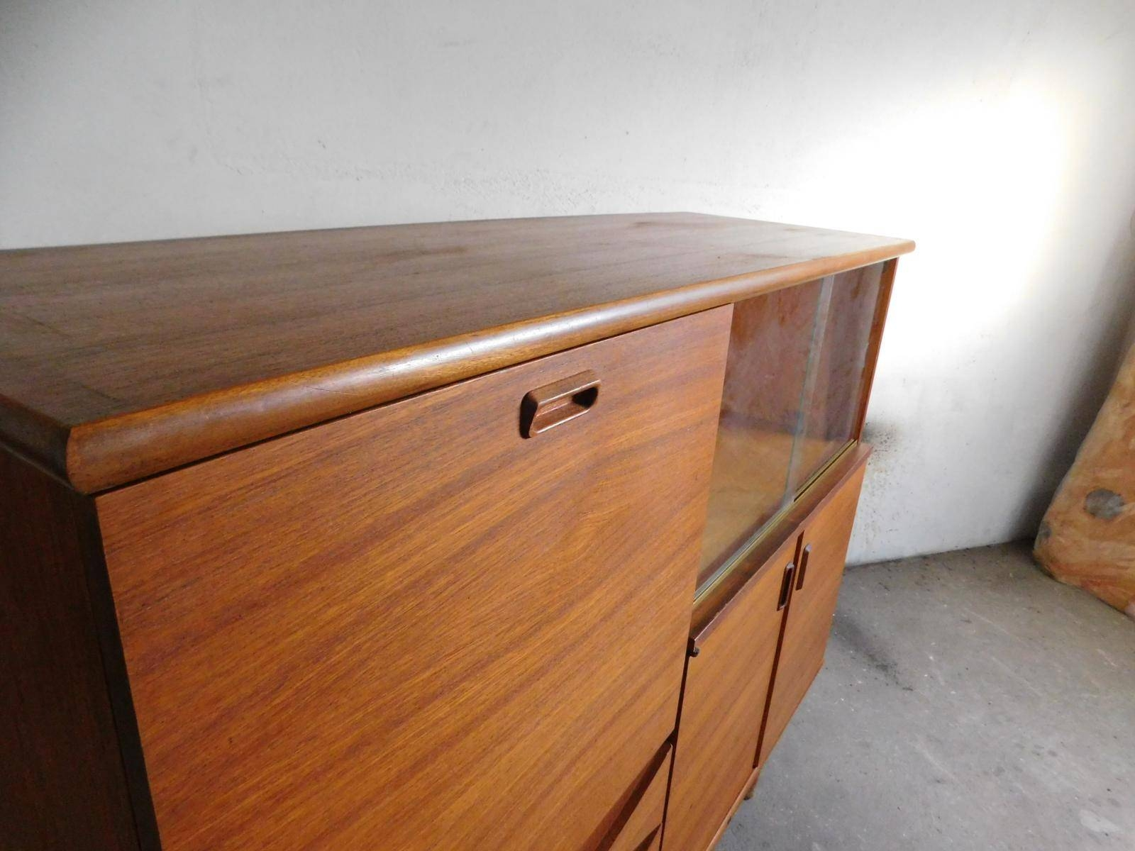 Large Teak Sideboard With Sliding Glass Doors, 1960S For Sale At Within Sideboards With Glass Doors And Drawers (View 8 of 15)