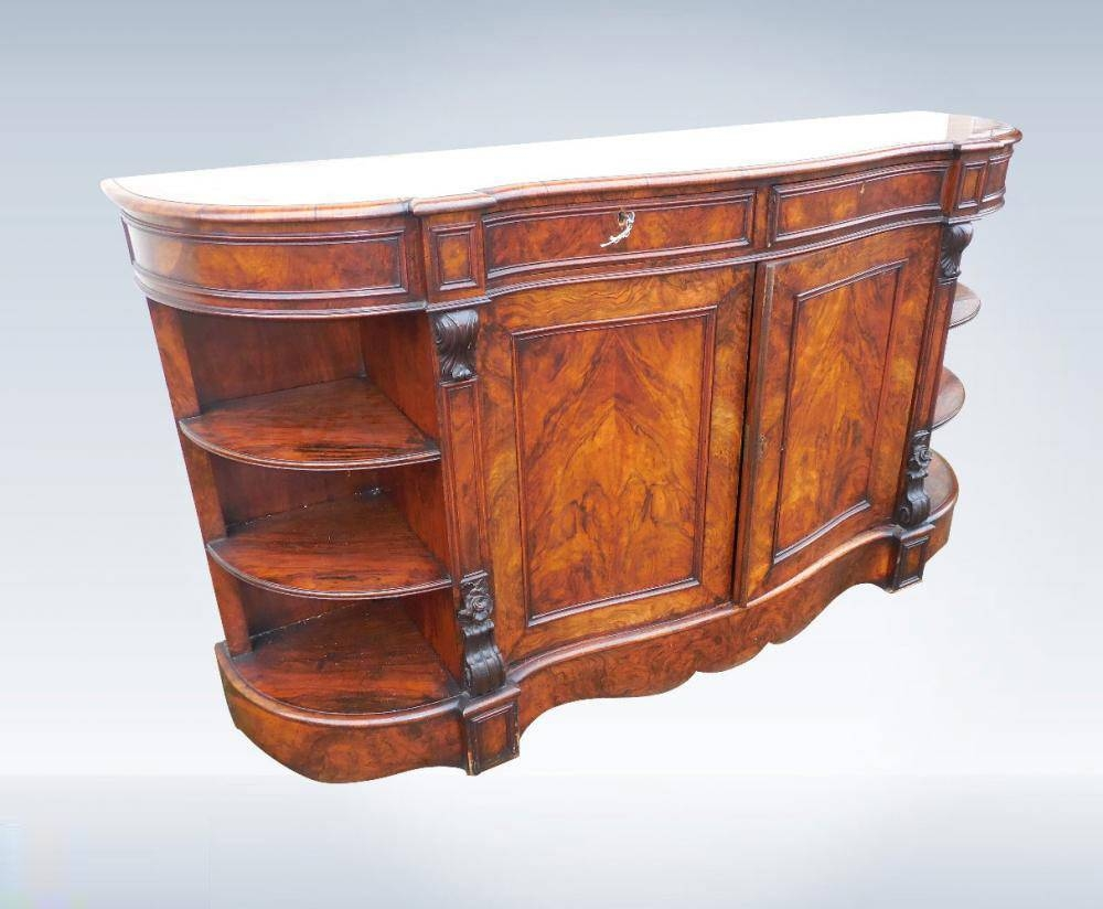 Large Victorian Walnut Credenza Sideboard throughout Credenza Sideboards (Image 8 of 15)