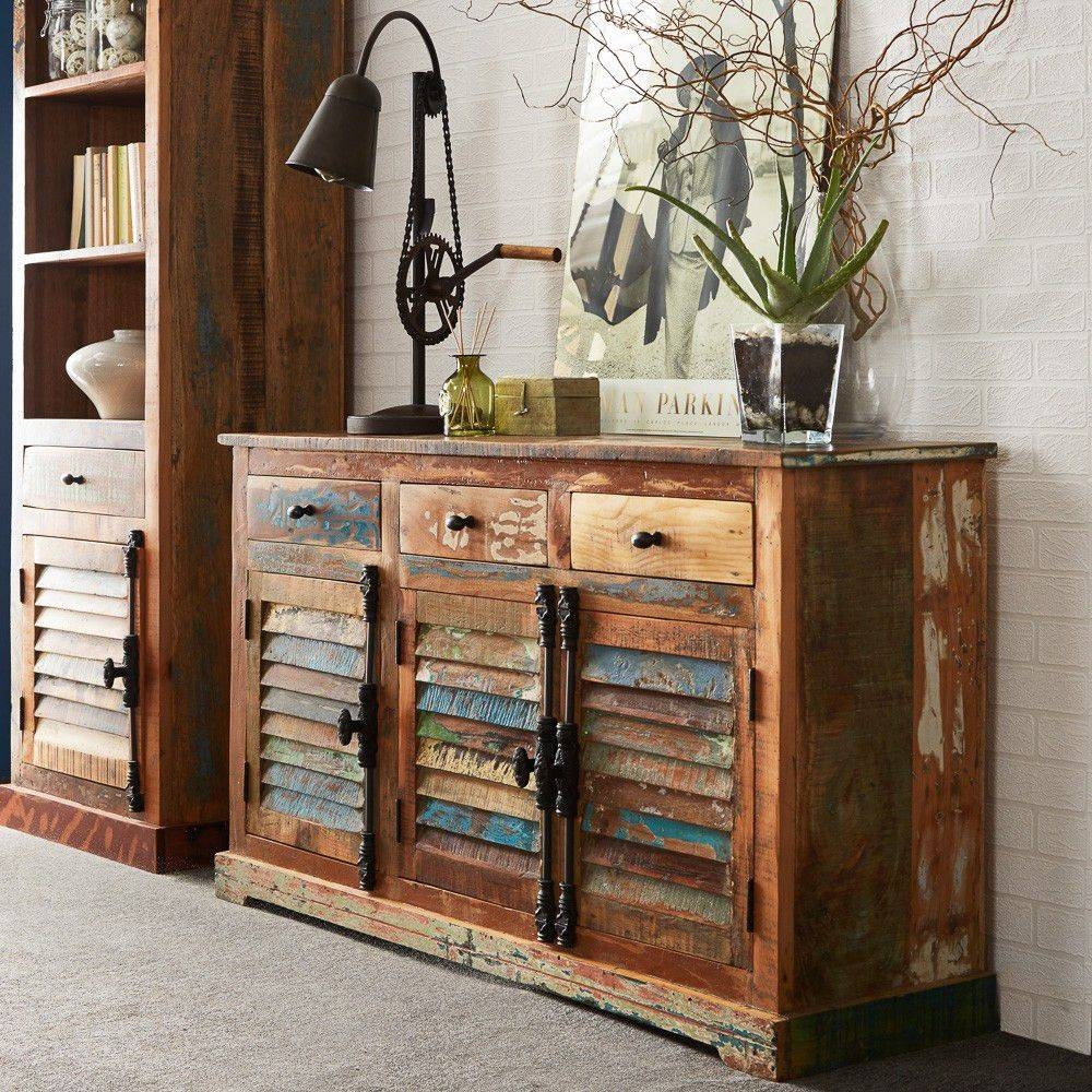 Large Vintage Distressed Sideboard With 3 Drawers - Coastal pertaining to Distressed Sideboards (Image 5 of 15)