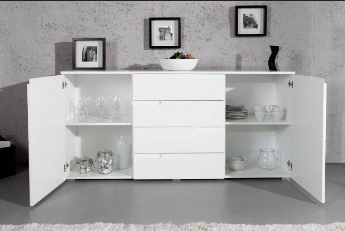 Large White Gloss Sideboardfurniturefactor.co.uk throughout Uk Gloss Sideboards (Image 4 of 15)