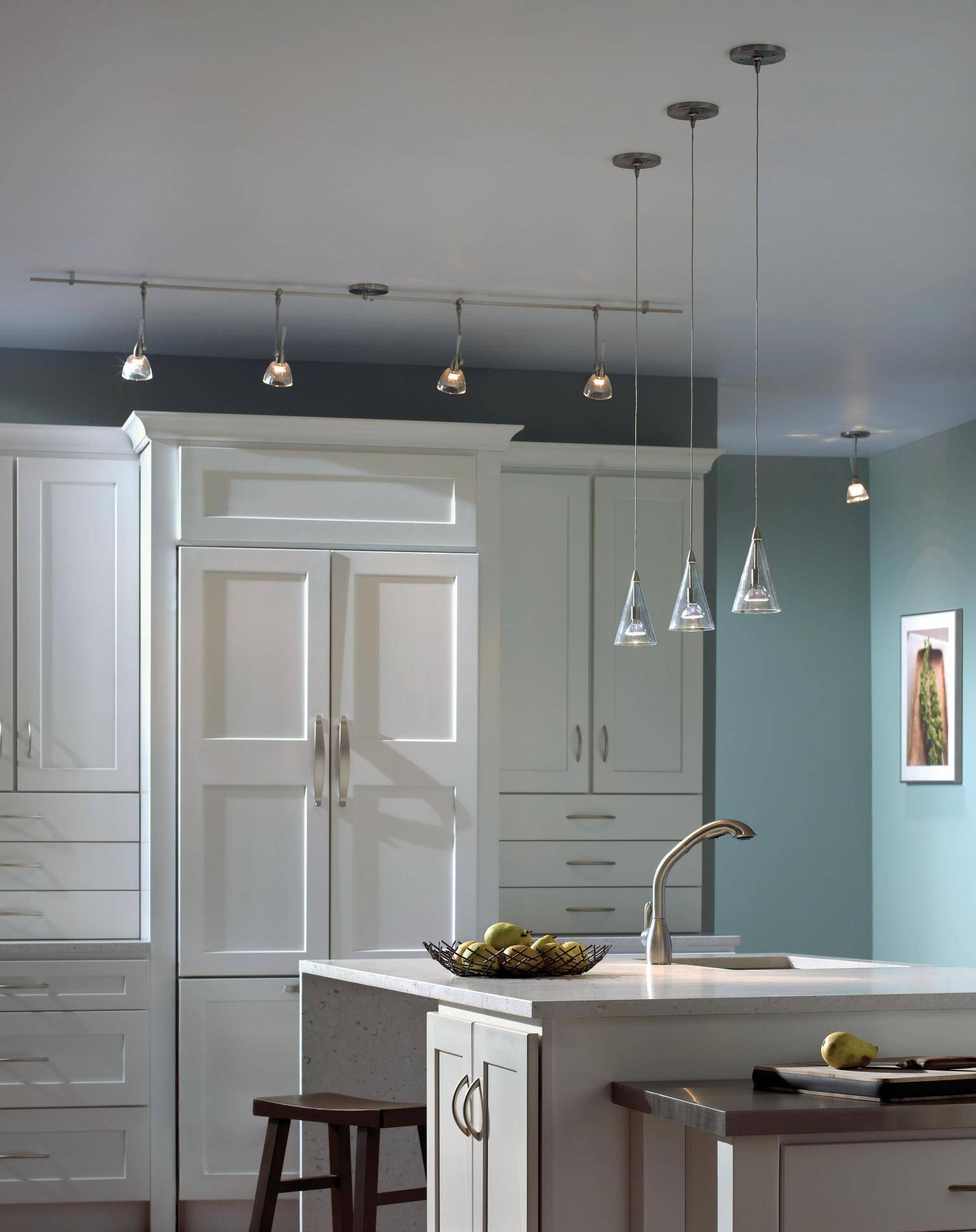 Light : Wall Mounted Track Lighting For Kitchen Classic Clean Pertaining To Kitchen Track Pendant Lighting (View 10 of 15)