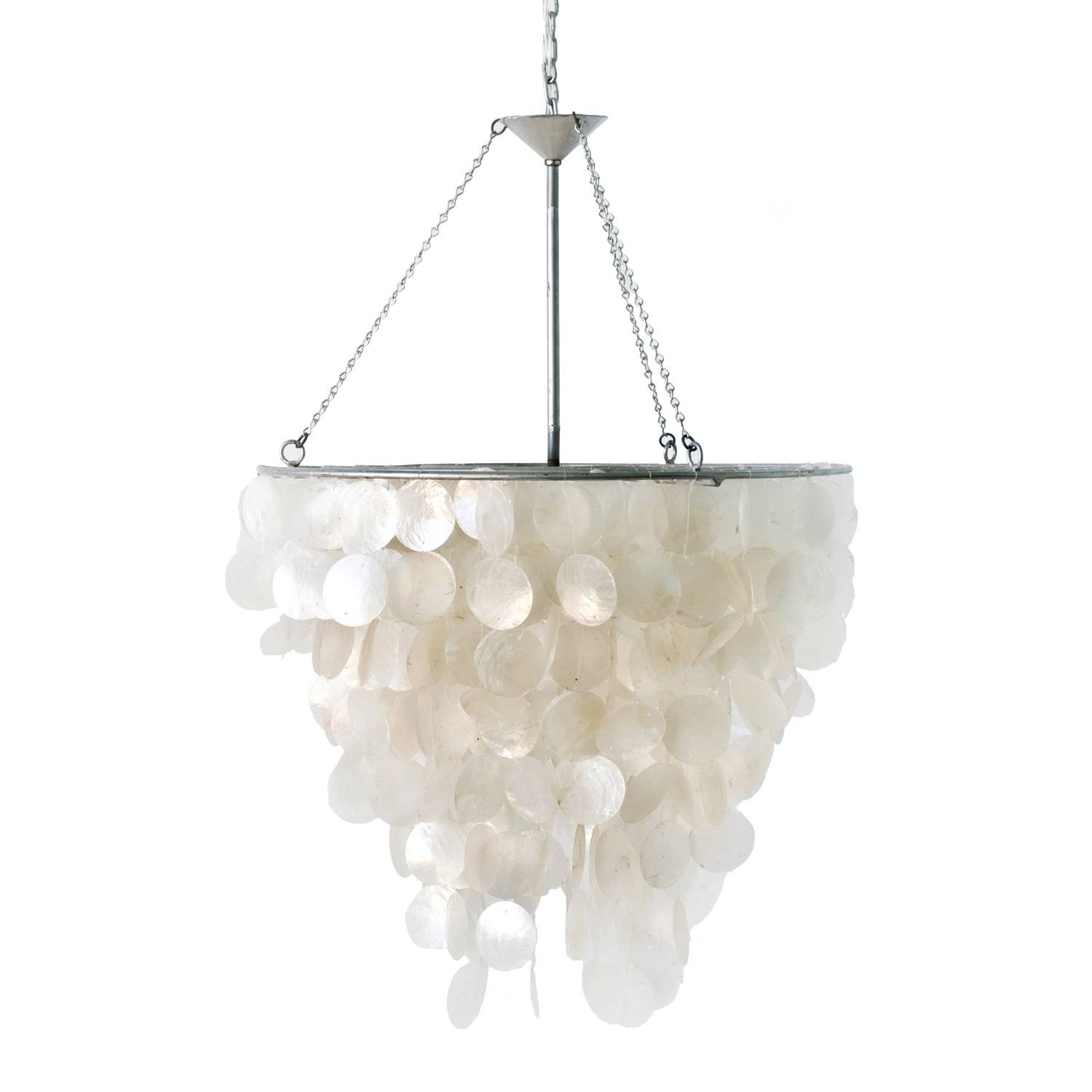 Lighting: Beautiful Capiz Shell Chandelier For Home Lighting Ideas Intended For Shell Pendant Lights (View 9 of 15)