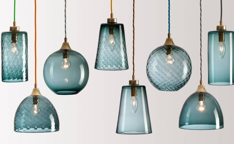 Lighting Wonderful Pendant Lamp Cord 106 Light For Blue Glass