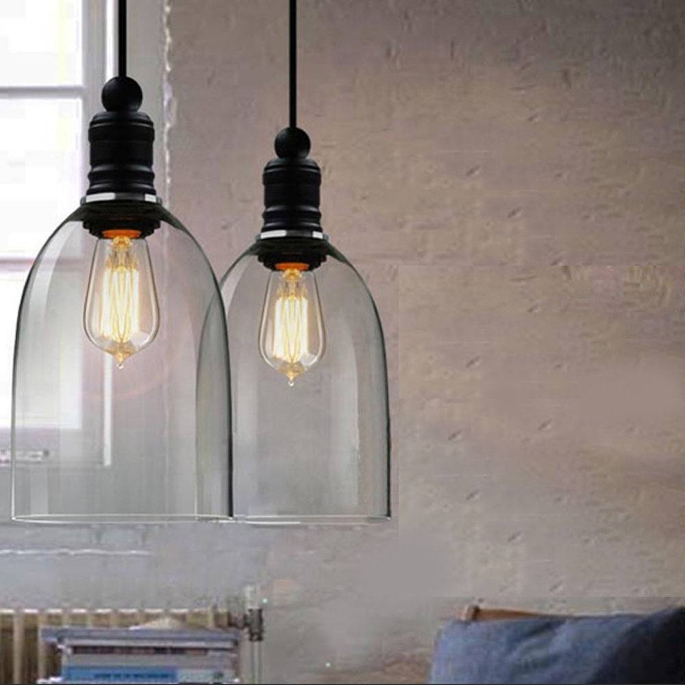 Linkax Vintage Industrial Pendant Light Copper Retro Glass Big throughout Industrial Glass Pendant Lights (Image 11 of 15)