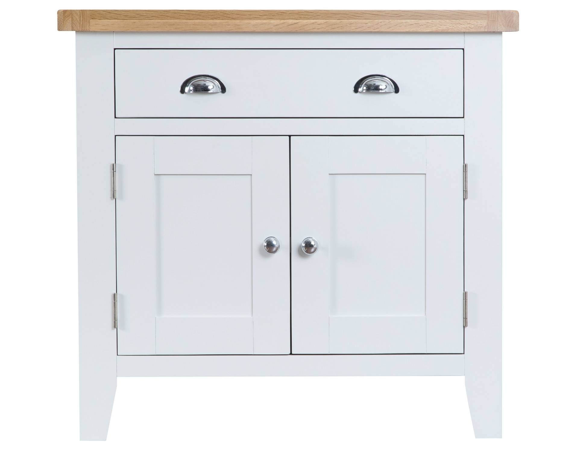 Liverpool Painted Oak Sideboard / Cream Small Cabinet / Cupboard throughout Cream and Oak Sideboards (Image 9 of 15)