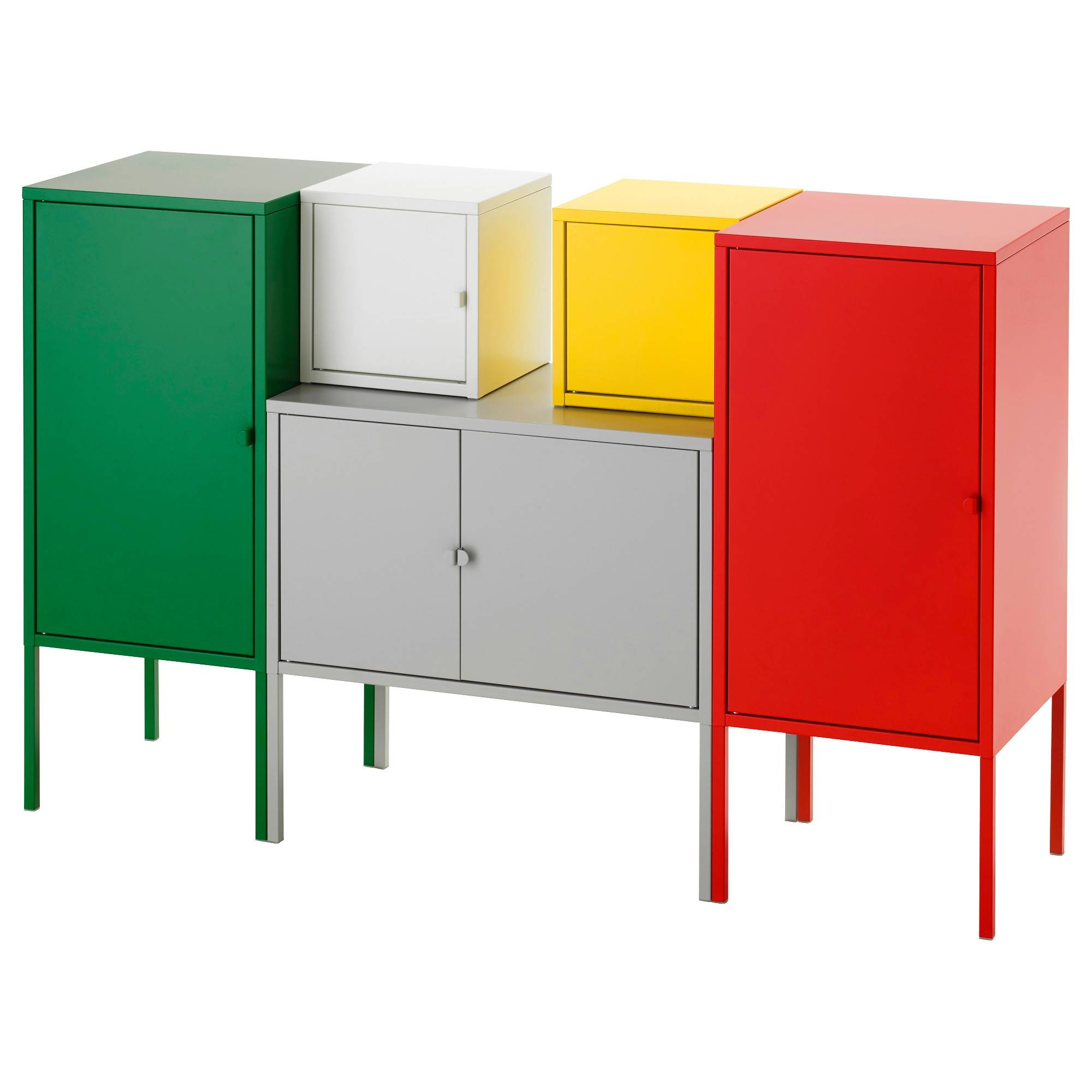 Lixhult Storage Combination White/red/yellow/green/grey 130X82 Cm in Ikea Red Sideboards (Image 11 of 15)